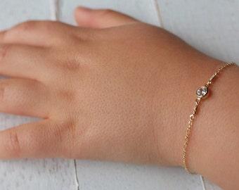 Gold baby bracelet -april birthstone bracelet - baby boy gift- baby Girl -newborn bracelet -baptism gift-christening gift-birthday gift