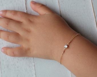 Gold baby bracelet -april birthstone bracelet - silver baby bracelet- baby Girl gift- newborn bracelet -baptism gift- christening gift-gifts