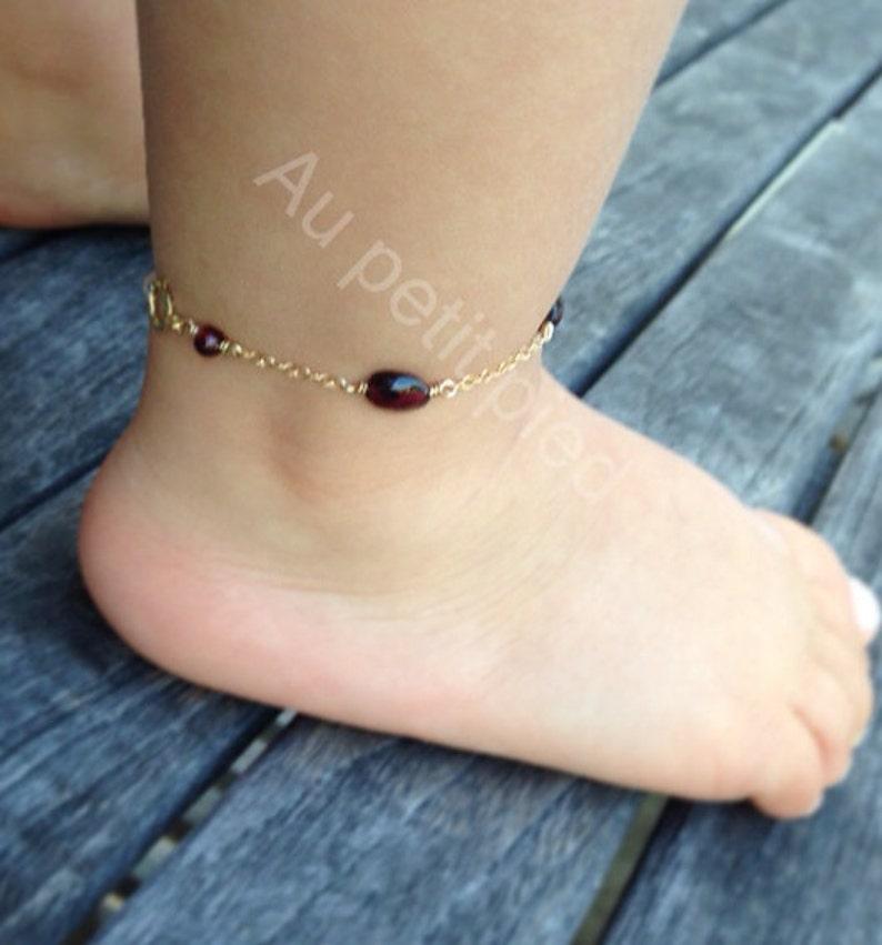 garnet birthstone jewelry flower girl birthstone jewelry Garnet ankle bracelet birthday gift,baby bracelet,gernet jewelry baby jewelry