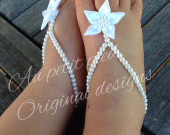 Baby barefoot sandals, baby shower gift, baptism, christening gift, birthday gift, baby jewelry, baby anklet, baby booties, flower girl