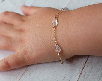Gold baby bracelet,toddler bracelet, baby jewelry,newborn bracelet, baptism gift,girl gift,april birthstone,child bracelet-godchild gift