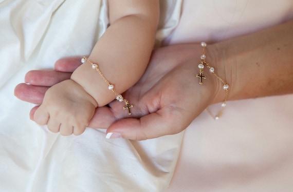 Mutter Und Kind Taufe Armband Gold Kreuz Armband Baby Dusche Geschenk Passende Armbänder Geschenk Taufe Armband Patenkind Geschenk Taufe