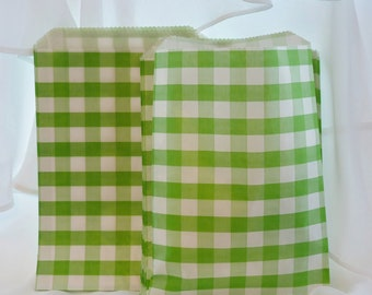 24 Green Gingham Check Party Favor Bags, Candy Buffet, Wedding, Baby Shower. Treat Bags