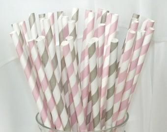 50 Strawberry Ice Cream and Silver Spoon Social  assorted Paper Straws in Pink Strawberry and Silver Spoon Grey Stripe
