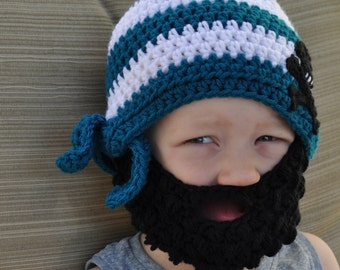 Crochet baby, toddler, or kids pirate/skull and cross bone beard hat