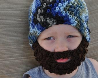 Crochet baby, toddler or kids beard hat