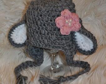 Crochet boy or girl newborn, baby, toddler, or kids/childrens easter lamb hat in grey/white