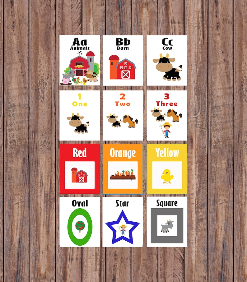 Printable Preschool Alphabet Flash Cards, Farm Animal Educational Toys,  Learning Instant Download