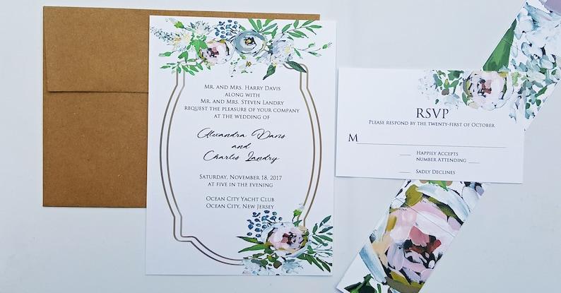Winter Wedding White Floral Wedding Invitation Set,Dusty Pink and Green Floral Wedding Invitations,Boho Wedding Invite,Winter Wedding Invite