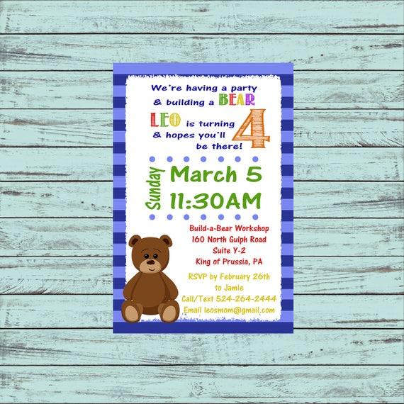 teddy bear birthday birthday invitation printable