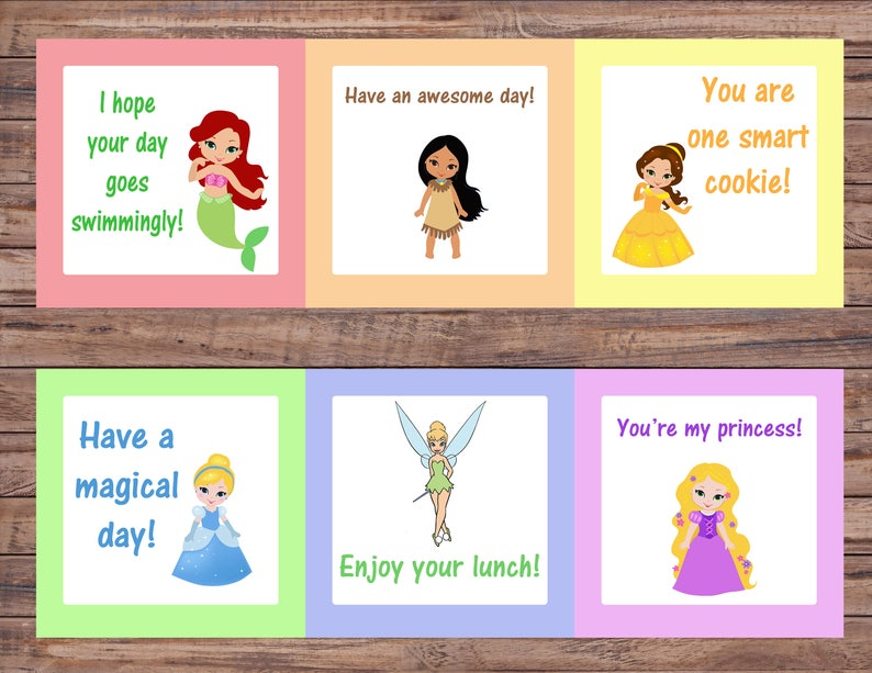 Lunch Box Instant Download Princess Lunch Box Kindergarten Educational Toys Printable Download Digital Download Printable Cards