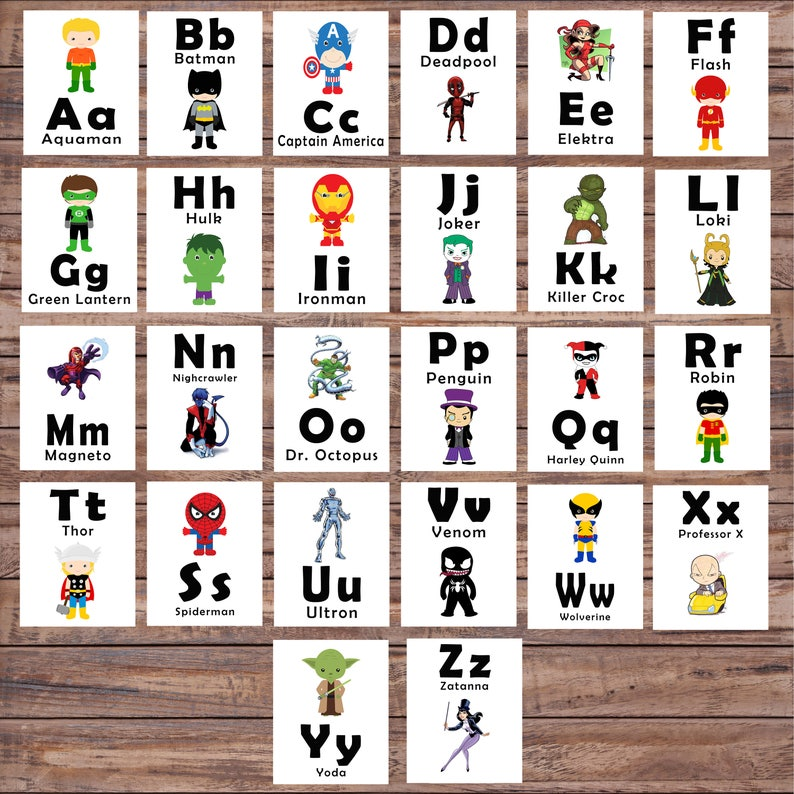 image relating to Printable Abc Flash Cards called ABC Printable Flash Playing cards, Studying Toys, Superhero, Printable Alphabet Card, Kindergarten, Preschool, Alphabet Wall Playing cards, Instantaneous Obtain