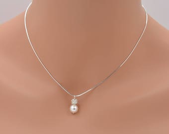 Set of 6 Bridesmaid Necklaces, Pearl and Rhinestone with Sterling Silver Snake Chain 0358