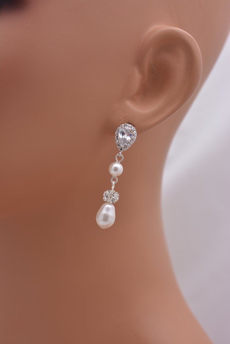 Pearl Wedding Earrings Pearl and Rhinestone Bridal Earrings Long Pearl Earrings Pearl Drop Earrings Pearl Dangle Earrings 0296