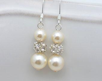 Ivory Bridal Earrings, Ivory Pearl Earrings, Sterling Silver Wedding Earrings, Cream Pearl Earrings, Long Pearl Earring 0150