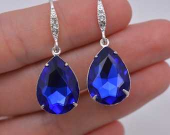 Blue Crystal Bridal Earrings, Royal Blue Bridal Earrings, Cobalt Blue Crystal Teardrop Earrings, Sapphire Teardrop Earrings 0279
