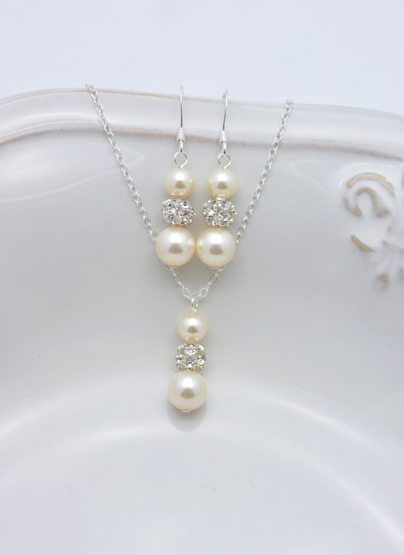 Ivory Pearl and Rhinestone Necklace and Earring Set Ivory image 0