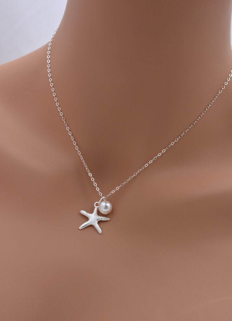 Set of 7 Starfish Necklaces Real Silver Chain 0199 Starfish and Pearl Necklace Beach Bridesmaid Jewelry 7 Bridesmaid Pearl Necklaces