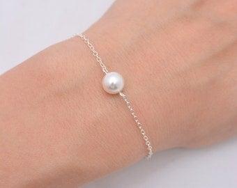 Single Pearl Bracelet, Sterling Silver Bracelet, One Pearl Bracelet, Bridesmaid Bracelet, Floating Pearl Bracelet, Bridal Bracelet 0165