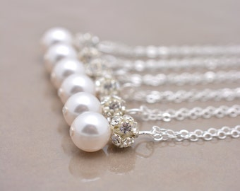 Set of 6 Bridesmaid Necklaces, Pearl and Rhinestone Necklaces, 6 Pearl Necklaces, Pearl and Crystal Necklaces, Sterling Silver Chain 0192