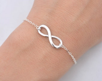 Infinity Bracelet with Sterling Silver Chain, Silver Infinity Bracelet, Infinity Charm Bracelet, Infinity Jewelry - Gift for Her 0196