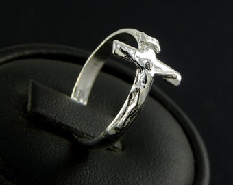 Ring Crucifix Jesus in Sterling silver - made in Italy