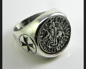 Templar seal  in sterling silver 925/1000, burnished