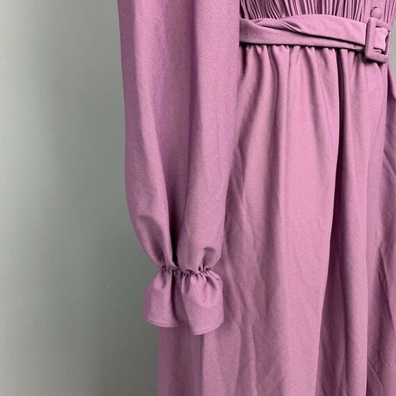 VINTAGE 70s maxi dress ruffle neck long Cottageco… - image 6