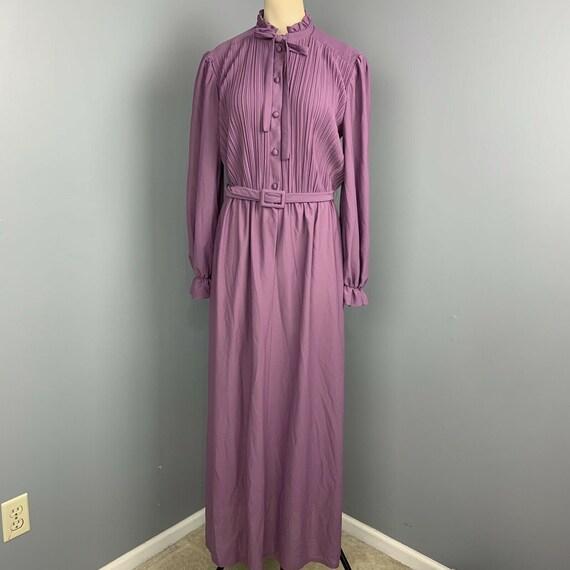 VINTAGE 70s maxi dress ruffle neck long Cottageco… - image 2