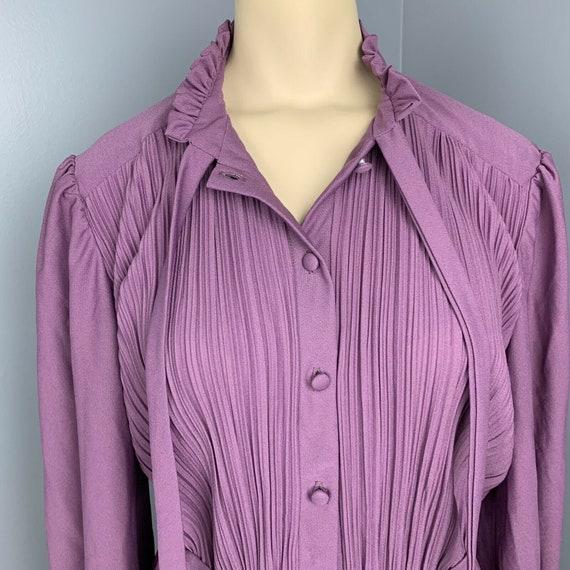 VINTAGE 70s maxi dress ruffle neck long Cottageco… - image 9