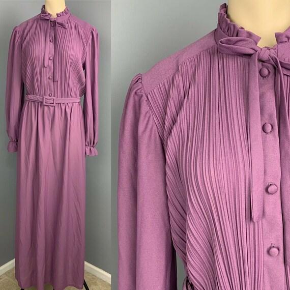 VINTAGE 70s maxi dress ruffle neck long Cottageco… - image 1