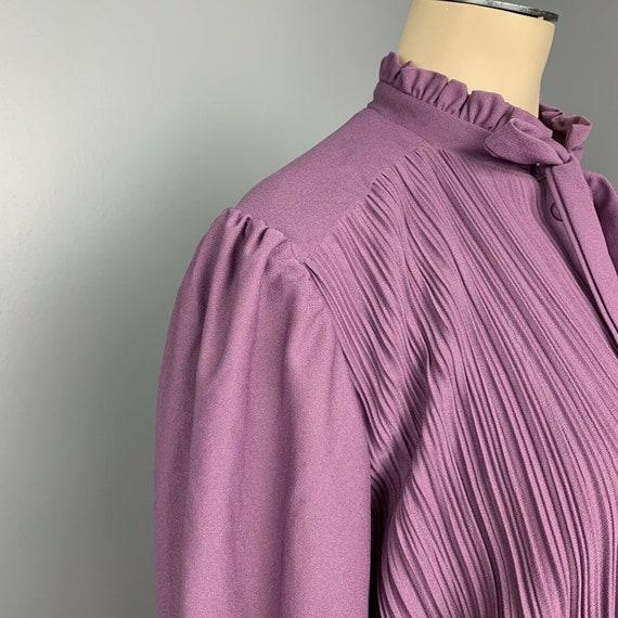 VINTAGE 70s maxi dress ruffle neck long Cottageco… - image 4