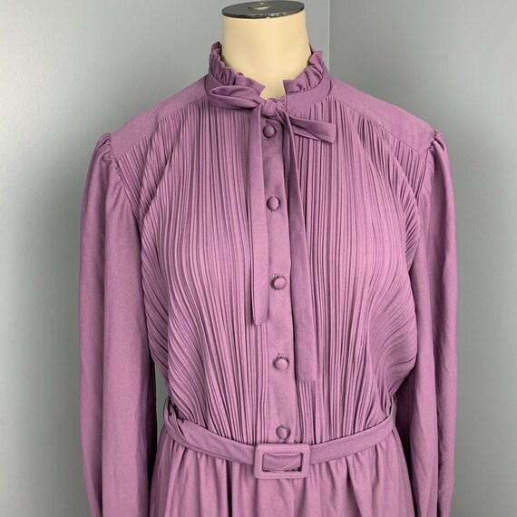 VINTAGE 70s maxi dress ruffle neck long Cottageco… - image 3