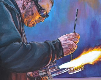 """Behind the Fire Giclee Print, """"Jerry Kelly"""""""