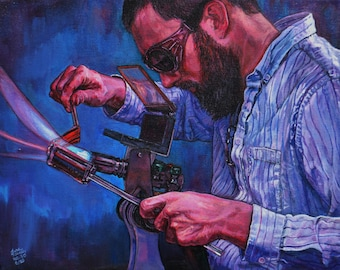 "Behind the Fire Giclee Print, ""David Kaminski"""