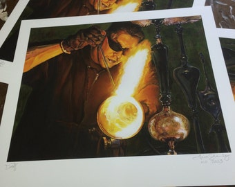 """Behind the Fire Giclee Print, """"Dave Popowitz"""" - First quality MISPRINT"""