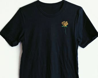 Gold Rose Embroidered Shirt