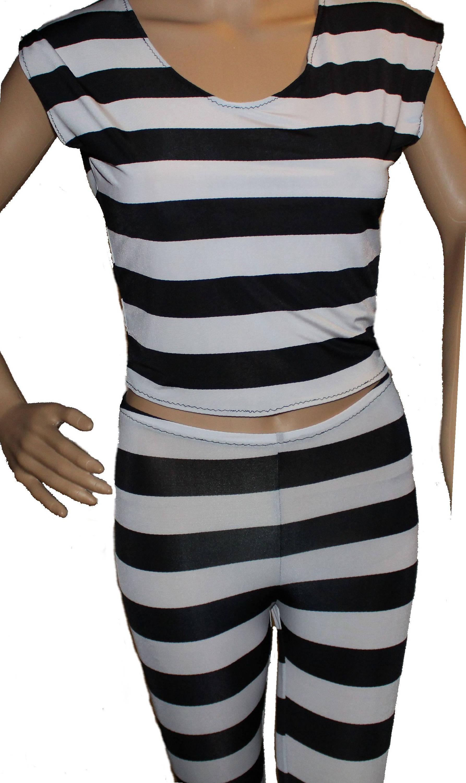 Jailbird Costumeref Shirt And Black Leggings Blackedwhite Etsy