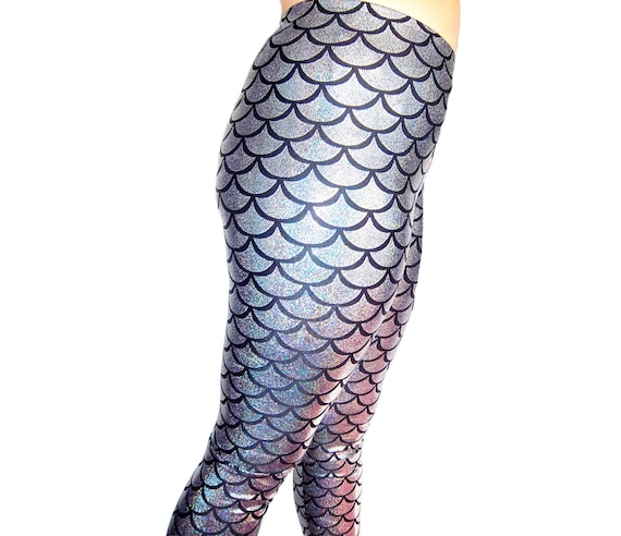 Silver Holographic Mermaid LeggingsShiny Leggings Yoga