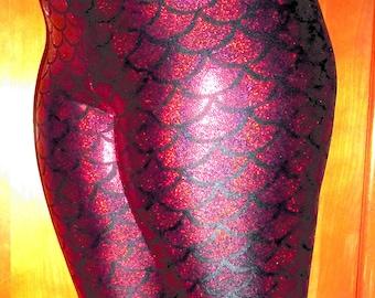 Youth Holographic Red Mermaid Leggings, Girls Leggings, Dragon Scale Leggings, Shiny Leggings, Yoga Pants, Running Pants
