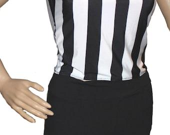 Referee Costume,Ref Shirt and Black Leggings, Blacked/White Costume