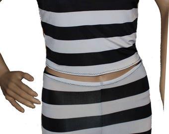 Youth Jailbird Costume,Ref Shirt and Black Leggings, Blacked/White Costume