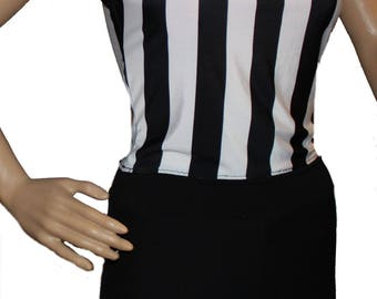 Youth Referee Costume,Ref Shirt and Black Shorts, Blacked/White Costume