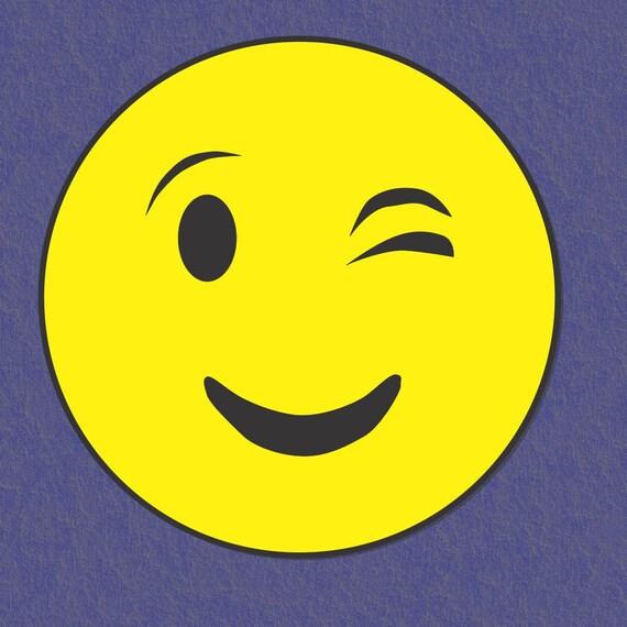 Wink Emoji Car Magnet Emoji Magnet Round Car Magnet Emoji Etsy