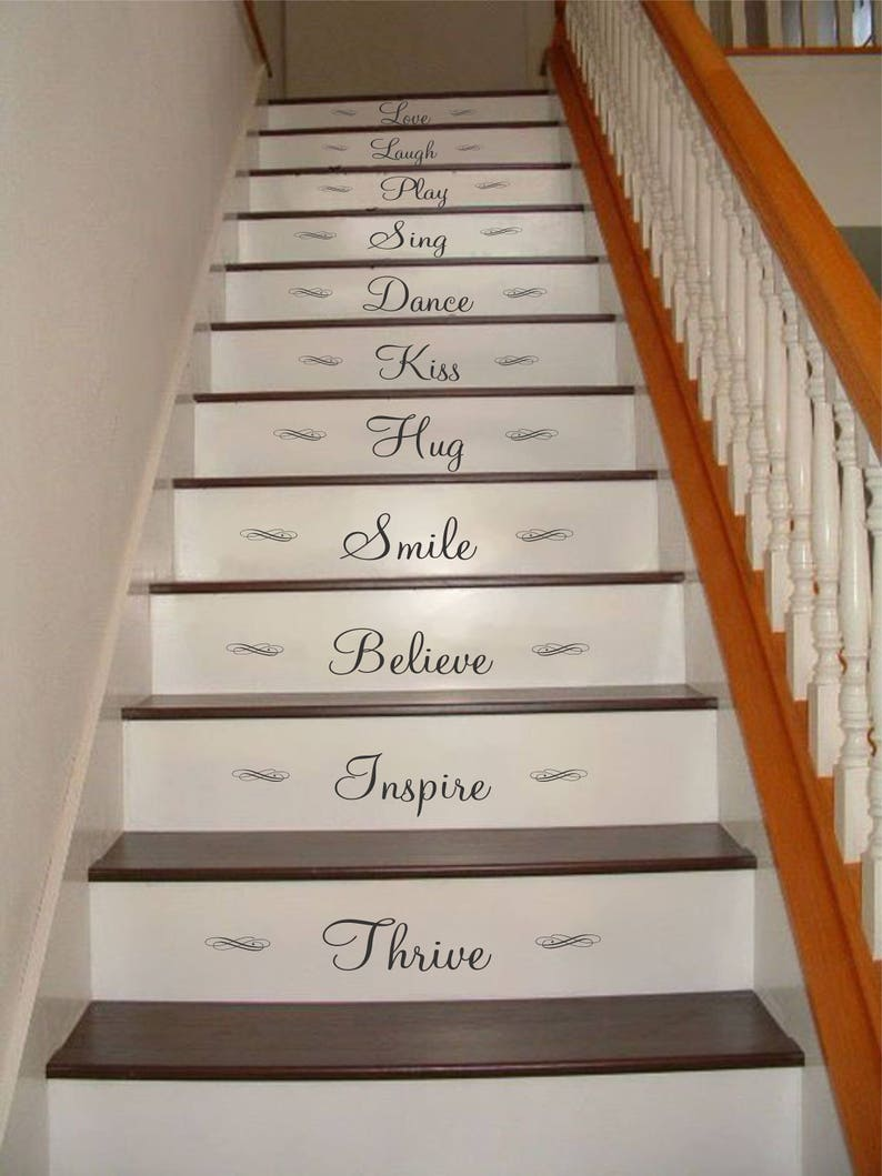 Wall Decals Love Laugh Play Stair Riser Decals Stair Decals Inspirational Stair Decals Inspiration Quotes Stair Stickers