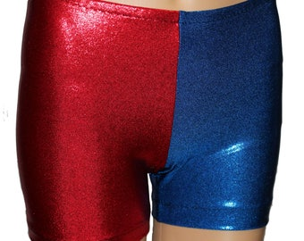 Youth Harlequin Shorts, Red/Blue Costume, Harley Costume, Quinn Costume