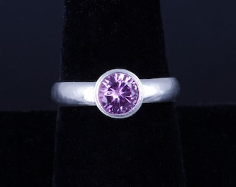 Lab Created Pink Sapphire 6mm Round Bezel Sterling Silver Ring