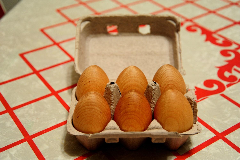 Wooden Natural Hen EGGS - Set of 6, Waldorf / Montessori