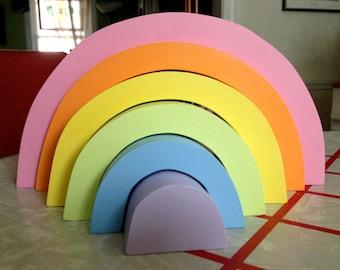 Children Wooden Toy, Pastel Rainbow Stacker / Waldorf Toys