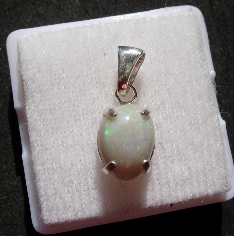 Sparkling Green Purple and Red Lightning Ridge Opal in Silver Pendant